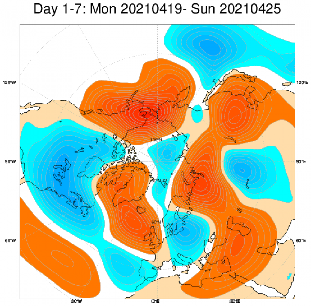 Geological anomaly at 500 hPa according to Ecmwf