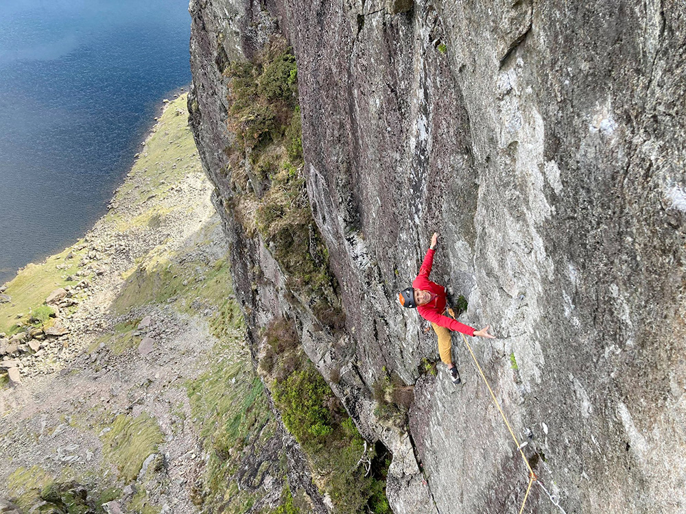 Steve McClure selling at Stile Flash Impact Day, tricky via Trad a Pavey Ark