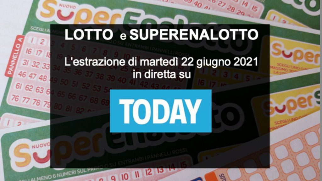 Today's Lotto Draw and SuperEnalotto numbers on Tuesday, June 22, 2021