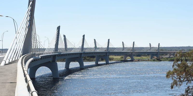 The curved African bridge, on one of the world's strangest borders
