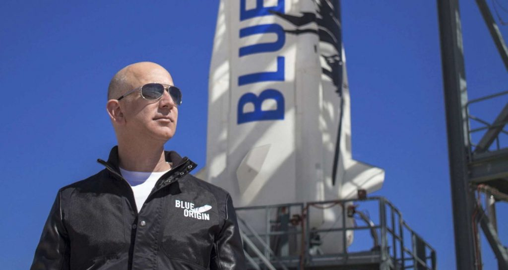 Space, Jeff Bezos aboard the New Shepard shuttle for the first tourist flight