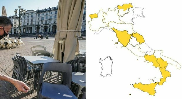 White area from Monday, Lazio, Lombardy, Piedmont, Emilia, Buglia and Trento.  Stop the curfew order, but the mask is on