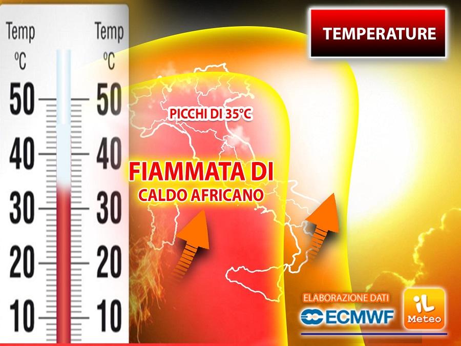 FIAMMATA di CALDO AFRICANO fino a 35°C