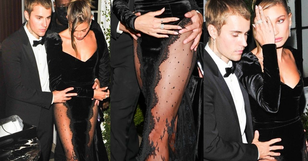 Bieber, the dress is really sexy but Hailey... can't hold it