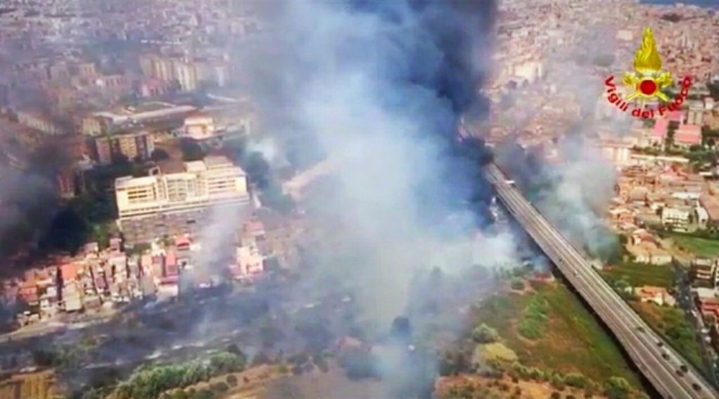 The fire in Catania destroyed homes and the beach in one district