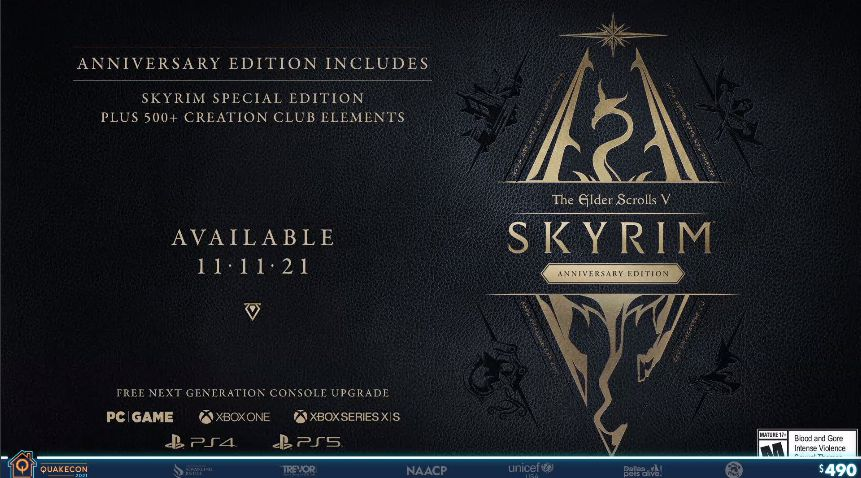 Skyrim Anniversary Edition, announced in November on PS5 and Xbox Series X/S