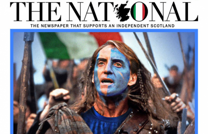 This was reported by the Scottish daily Euro 2020.  He chanted for Italy against England