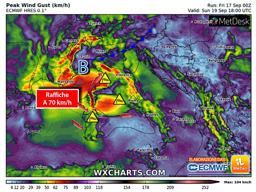 Strong winds of more than 70 km/h in Sardinia and between eastern Liguria and upper Tuscany