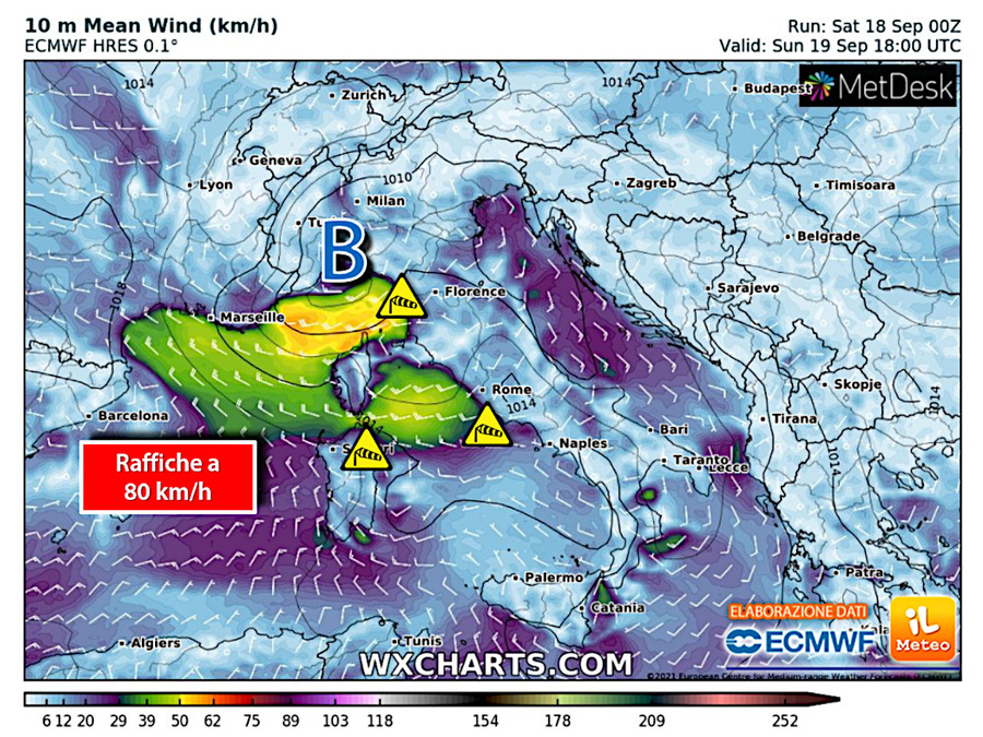 Strong winds of more than 80 km/h in Sardinia and between eastern Liguria and upper Tuscany