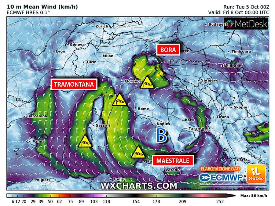 Tramuntana, Bora and Mistral winds reach 100 kph
